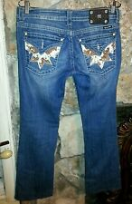 Miss Me Cow Hide Crystal Design Boot Cut Jeans Sz 29X28 BUY IT NOW=FREE SHIPPING