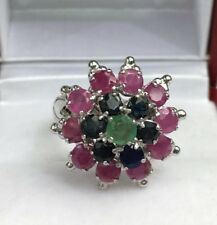 Solid .925 Silver Big Flower Cluster Ring, Mix Stones. Size 6. 6.79 Grams