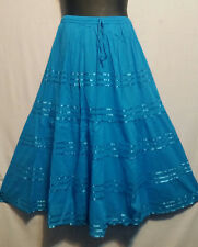Women Clothing elastic waist Long Skirt with pull string cottonTurquois One Size