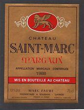 MARGAUX VIEILLE ETIQUETTE CHATEAU SAINT MARC 1988 75 CL    §18/01/17§