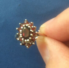 Antique Amethyst Cluster Solid Silver Dress Ring Size M.5