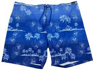 "Mens Swim Trunks Shorts Size 4XB Big Blue Floral Hawaiian 9"" Roundtree Yorke"