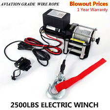 2500Lbs 12V Electric Recovery Winch Truck SUV Wireless Remote Control Black