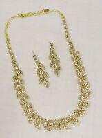 Gold Rhinestone Crystal Necklace Set #16749 Wedding Bridal Jewelry Free Shipping