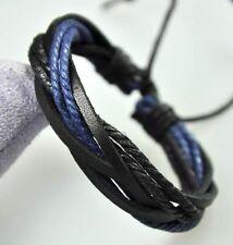 Cool Surfer R&B Genuine Leather Hemp Braided Bracelet Wristband Black & Blue