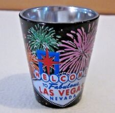Welcome to Fabulous Las Vegas Nevada  Shot Glass Black W Colorful Fireworks