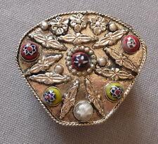 Boîte à pilules Vintage pilulier métal ciselé perles de verre Rajasthan Inde
