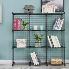9 Cubes Wire Grid Storage Cube Shelves Closet Organizer Stackable Metal Cabinet