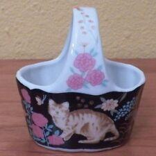 """Porcelain Cat Floral Basket 3.5"""" x 3.5"""" by Action Japan Euc"""