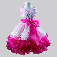 Kid Baby Flower Girl Sequin Bowknot Formal Party Wedding Pageant Lace Tutu Dress
