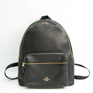 Coach Charlie Pebble Leather F38288 Women's Leather,Nylon Backpack Blac BF531947