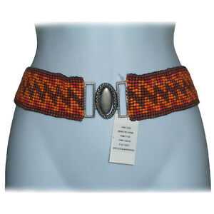 xhilaration Beaded Elastic Cinch Belt Bead Tie Waist Belly Trendy Fashion Wide