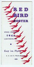 1942 Columbus Red Birds Spring Training Roster & Schedule - Original