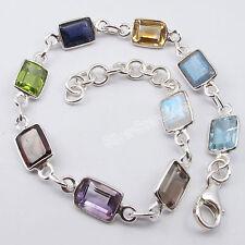 """925 Pure Silver Rectangle MULISTONE ADJUSTABLE Bracelet 8.3"""""""