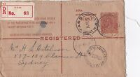 DB334) 5d Chestnut KGV ACSC RE13, with early Registration Label