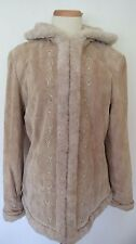 ESPRIT TAN  SOLID FUR TRIM LONG SLEEVE SUEDE LEATHER HOODY JACKET COAT SIZE  XL