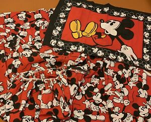 Vintage Disney Mickey Mouse 3pc Twin Bed Sheet Set Red and Black