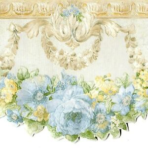White Blue Flowers Lavender Sage Green JN1744B Wallpaper Border