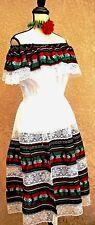 5 de Mayo Mexican Black White multicolor Dress Fiesta Adelita Folkloric L/XL