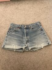 Levi Jeans Vintage High Waisted Light Blue Turn Up Denim Shorts W32