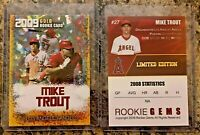 2009 Mike Trout Gold Cracked Ice Rookie Limited Edition Card L.A. Angels GOAT