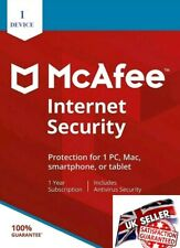 McAfee Internet Security 2020 1 Device 3 Year -one Minute Delivery by Email