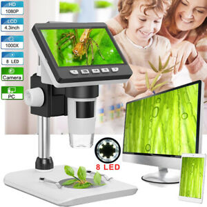 """1000x Digital Mikroskop 4.3"""" HD 1080P 2MP LCD Microscope Lupe mit Stand 8LED USB"""