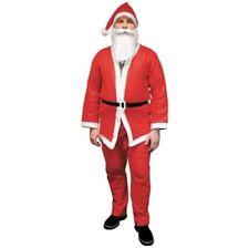 Weihnachtsmann Kostüm Bart Jacke Hose Mütze Gürtel Nikolauskostüm