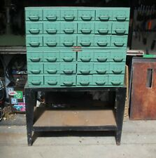 """(2) Equipto Industrial Parts Bin Cabinet, 18 Draw, 34""""x 17""""X 13H, w/ Stand,Nice!"""