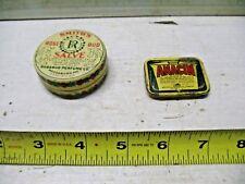 Pr. Old Vintage Tins Anacin Aspirin Pill Box & Smith Salve Rose Bud Perfume Tin