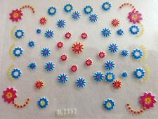 Accessoire ongles: nail art -Stickers autocollants - fleurs roses et bleues