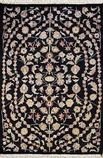 Rugstc 3x5 Pak Persian Black Area Rug, Hand-Knotted,Floral with Silk/Wool Pile