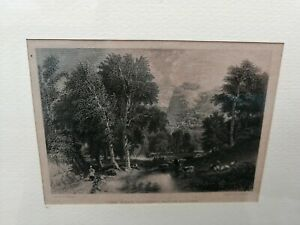 """R. Brandard Gravure XIX Siècle """" Paysage Avec Figures """" 1800 Derwent Water"""