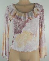 JBX Exclusive Women's Long Sleeve Semi Sheer Blouse-Multi Color-Size Medium
