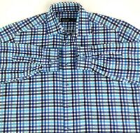 St Croix Mens Sz L Button Up Long Sleeve Shirt Tattersall Check Blue Gray Italy