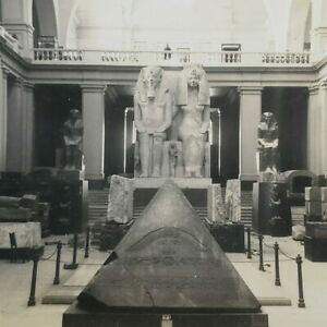 Cairo Egyptian Museum Colossal Group Amenophis III Teye Daughter Stereoview G235