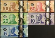 Banknote - Canada Frontiers Series Polymer $100 $50 $20 $10 $5 Dollars, UNC