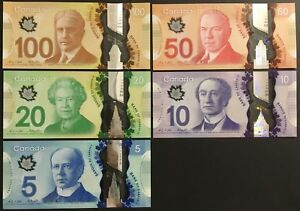 Banknote - Canada Frontiers Series $100 $50 $20 $10 $5 Polymer Notes, UNC