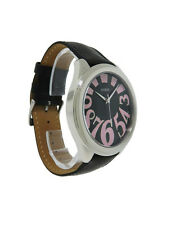 Guess 75554G1 Women's Black Leather Round Pink & Black Analog Watch