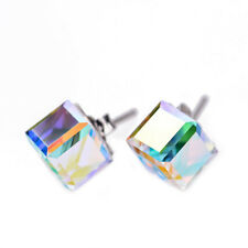 925 Sterling Silver Large AB Clear Austrian Elemental Crystal CUBE Stud Earrings