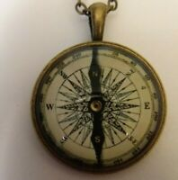 Necklace, Pendant; Compass Image with bronze pendant and chain.
