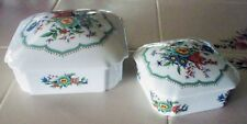 Lovely L/E/C (Leclair) Limoges France Jewelry / Trinket / Vanity Box ~ 2 Pc. Set