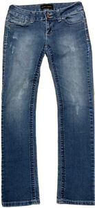 CHINESE LAUNDRY Womens Size 27 30X31.5 distressed Straight Jeans Dark Stone Wash