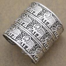L'egypte afrique argent estampé elephant om hindou ganesha bracelet bangle cuff