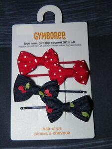 "GYMBOREE ""Cherry Cute"" 4pk Bow Hair Clips~ New!"