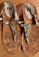 Kids GB Girls Silver Cork Wedges Sandals Heels Sz 3 Rhinestone Seahorse Sparkle