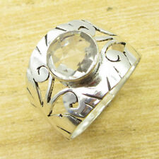 Beautiful Stone Ring Size UK R ! 925 Silver Overlay Crystal Jewellery NEW