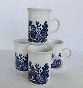 4 x Churchill England Blue Willow Coffee Mugs