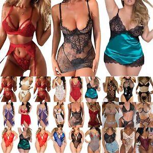 Plus Size Womens Lingerie Leotard Lace Babydoll Bodysuit Underwear Nightwear