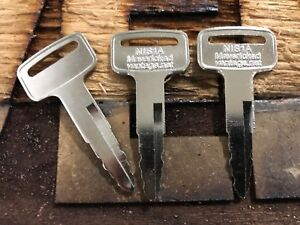 3 IGNITION KEYS for NISSAN FORKLIFT/HEAVYEQUIP NIS-1A KEY00-GB01A 1A New lifts